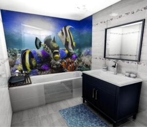 panel szklany łazienka ryby