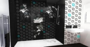 panel szklany czarny do łazienki