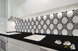 panel szklany do kuchni biały wzory geometryczne