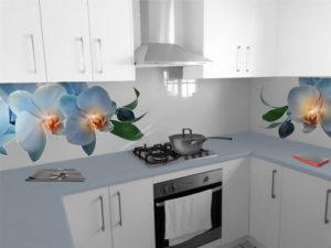 szklany panel do kuchni niebieskie orchidee