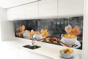 panele szklane do kuchni kawa kwiaty