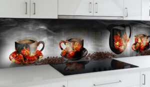 panel szklany do kuchni filiżanki kawa