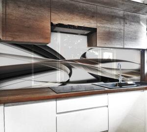 kuchnia panel szklo abstrakcja fala