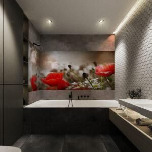 panel szklany łazienka maki