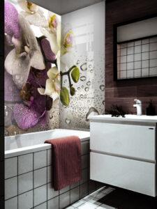 panel szklany łazienka orchidea woda