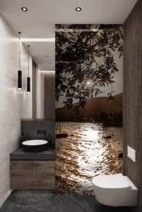 panel szklany łazienka szkło jezioro
