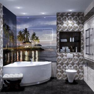 panel szklany łazienka widok
