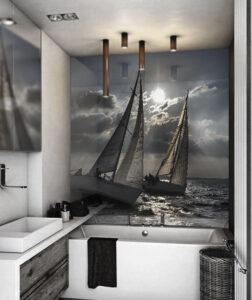 panel szklany łazienka zaglówki