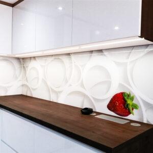panel szklany do kuchni abstrakcja z truskawką