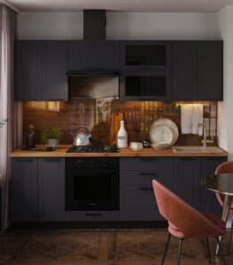 panel szklany do kuchni drewno