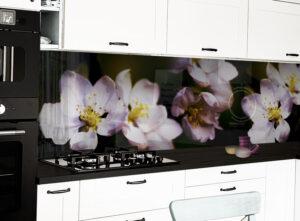 panel szklany kuchnia kwiaty jabłoń