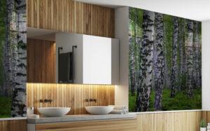 panele szklane łazienka las