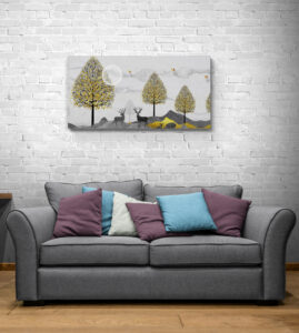 Comfy sofa in living room corner