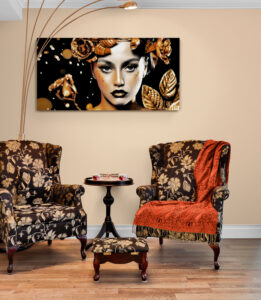 Traditional armchairs in family room