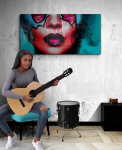 obraz na szkle kobieta kolorowa