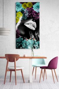 obraz szklany czarna kobieta kwiaty