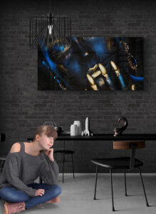 obraz szklany jadalnia kobieta niebieska