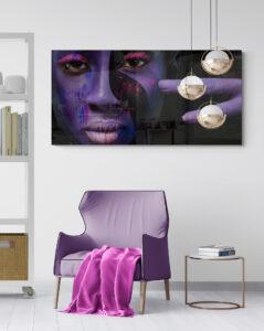 obraz szklany kobieta fiolet