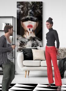 obraz szklany usta kobiety