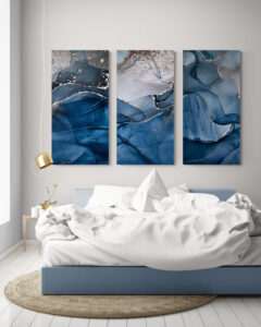 obrazy szklane niebieski marmur