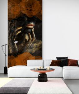 panel szklany salon czarna kobieta