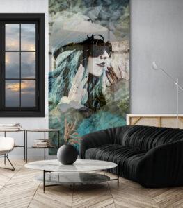 panel szklany salon kobieta w miescie