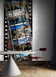 panel szklany salon loft klisza filmowa