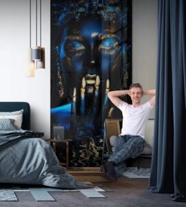 panel szklany sypialnia